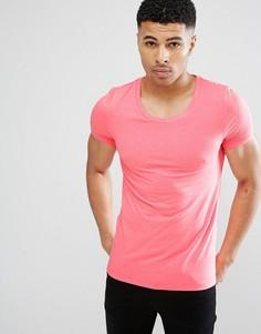 Облегающая эластичная футболка с овальным вырезом ASOS - Розовый