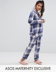 Пижамный комплект в клетку ASOS Maternity - Мульти