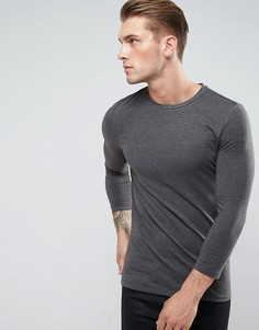 Серая обтягивающая футболка с рукавами длиной 3/4 ASOS - Серый
