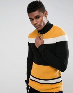 Черно-желтый фактурный джемпер с молнией ASOS - Черный