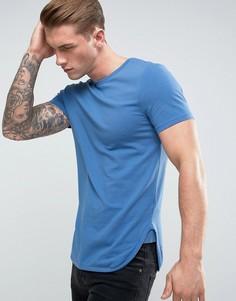 Синяя удлиненная обтягивающая футболка с асимметричным краем ASOS - Синий