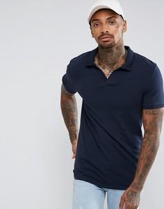 Трикотажная облегающая футболка-поло с отложным воротником ASOS - Темно-синий