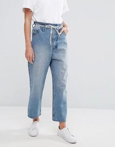 Укороченные джинсы с завышенной талией, широкими штанинами и завязкой на поясе Cheap Monday - Синий