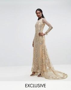 Платье макси с вышивкой A Star Is Born - Золотой
