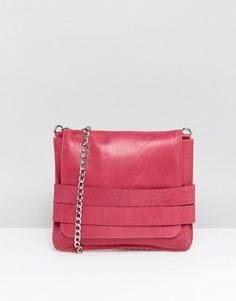 Кожаная сумка через плечо с откидным клапаном Urbancode - Розовый