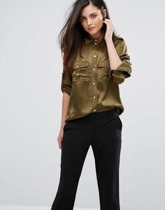 Атласная рубашка Ganni Sanders - Зеленый