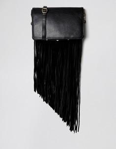 Кожаная сумка через плечо со съемной бахромой Urbancode - Черный