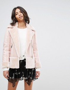 Куртка-авиатор с отделкой из искусственной овечьей шерсти Miss Selfridge - Мульти