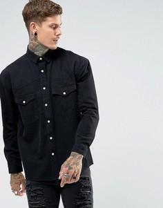 Джинсовая оверсайз-рубашка в стиле вестерн ASOS - Черный