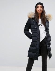 Пуховая куртка с искусственным мехом на капюшоне Calvin Klein Jeans - Черный