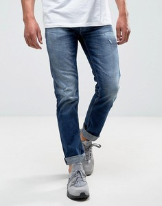 Темные прямые джинсы с рваной отделкой Replay Grover - Синий