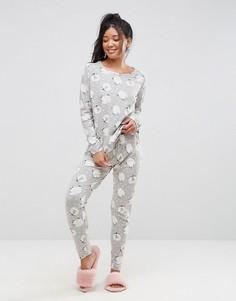 Пижамный комплект с лонгсливом и леггинсами с принтом ASOS - Мульти