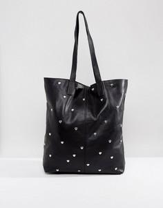 Кожная сумка-шоппер в стиле 80-х с заклепками ASOS - Черный