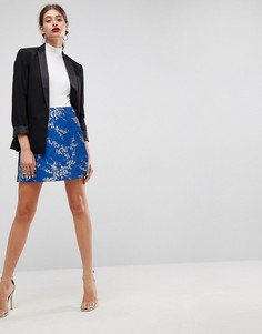 Жаккардовая мини-юбка с запахом ASOS - Синий