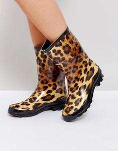Резиновые сапоги с леопардовым принтом ASOS GAZELLE - Мульти
