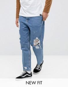 Синие джинсы в винтажном стиле с рваной отделкой ASOS - Синий