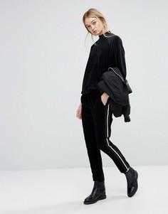 Вельветовые длинные брюки в спортивном стиле Sportmax Code Facella - Черный