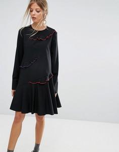 Платье с отделкой контрастного цвета на оборках Sportmax Code Emilia - Черный