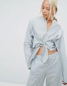 Комбинируемая полосатая рубашка в пижамном стиле с завязкой House Of Sunny - Мульти