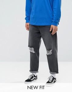 Черные выбеленные джинсы с рваной отделкой ASOS - Черный