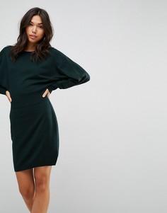 Трикотажное платье мини с рукавами летучая мышь ASOS - Зеленый