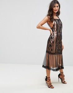 Платье миди с кружевными вставками ASOS - Черный