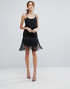 Кружевная юбка-карандаш с бахромой Zibi London - Черный
