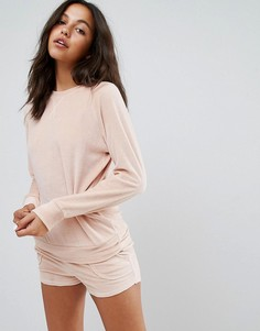 Велюровая пижама со свитшотом и шортами Lazy Days - Розовый