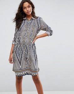 Оверсайз-платье с геометрическим принтом Vila - Темно-синий