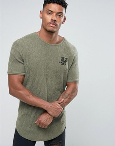 Фактурная обтягивающая футболка цвета хаки SikSilk - Зеленый