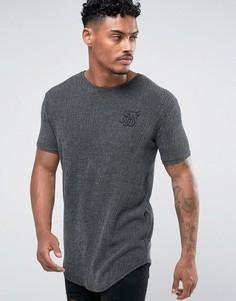 Серая фактурная обтягивающая футболка SikSilk - Серый