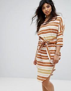 Пляжное платье в полоску с поясом Zulu & Zephyr - Мульти