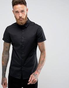 Черная зауженная рубашка с короткими рукавами ASOS - Черный