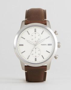 Часы с кожаным коричневым ремешком и хронографом Fossil FS5350 Townsman - Коричневый