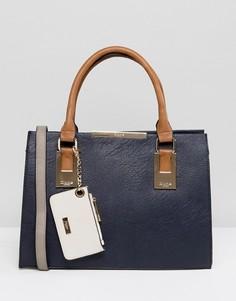 Большая сумка-тоут с ручками в стиле колор блок Dune Deedee - Темно-синий