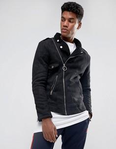 Черная байкерская куртка с искусственной овечьей шерстью Sixth June - Черный