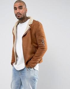 Светло-коричневая байкерская куртка из искусственной овчины Sixth June - Рыжий