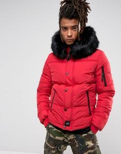 Красная дутая куртка с искусственным мехом на капюшоне Sixth June - Красный