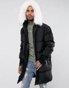 Длинная дутая куртка с отделкой из искусственного меха на капюшоне Sixth June - Черный