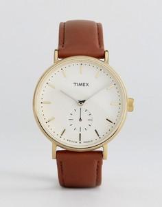 Часы со светло-коричневым кожаным ремешком Timex Fairfield - Рыжий