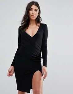 Черное платье миди с длинными рукавами, запахом и низом с разрезом Missguided - Черный