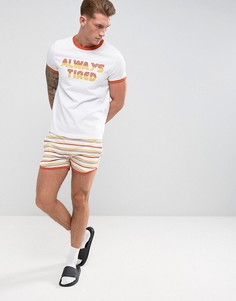 Пижама из футболки с контрастной отделкой и полосатых шортов ASOS - Белый