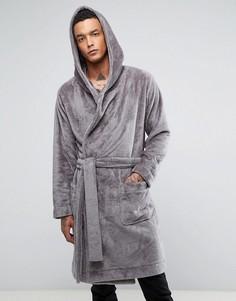 Флисовый халат с капюшоном ASOS - Серый