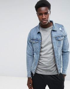 Состаренная джинсовая куртка с молнией Just Junkies - Синий