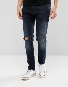Темные суженные джинсы с рваной отделкой Just Junkies - Синий