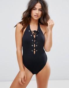 Слитный купальник со шнуровкой Seafolly - Черный