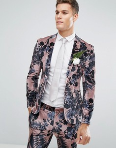 Розовый бархатный облегающий пиджак с цветочным принтом ASOS Wedding - Розовый