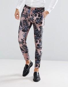 Розовые бархатные брюки скинни с цветочным принтом ASOS Wedding - Розовый