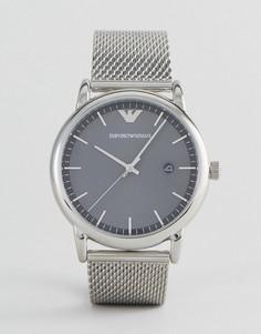 Серебристые часы с узким сетчатым браслетом Emporio Armani AR11069 - Серебряный