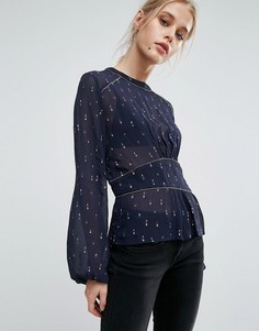 Присборенная блузка с принтом Pepe Jeans Louise - Темно-синий
